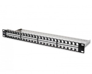DN-91424 : DIGITUS Modular Patch Panel, shielded, 48-port, label field, 1U, rack mount, color black RAL 9005