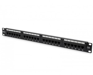 DN-91624U : DIGITUS CAT 6, Class E Patch Panel, unshielded, 24-port RJ45, 8P8C, LSA, 1U, rack mount, color black RAL 9005