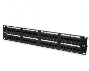DN-91648U :	DIGITUS CAT 6, Class E patch panel, unshielded, 48-port RJ45, 8P8C, LSA, 2U, rack mount, color black RAL 9005